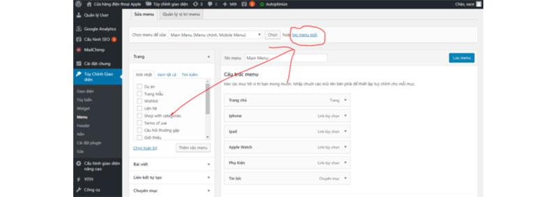 cách chỉnh sửa menu cho website - tạo menu mới