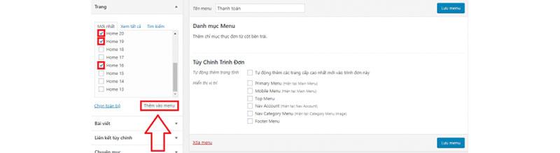 cách chỉnh sửa menu cho website - thêm trang vào menu