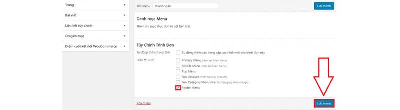 cách chỉnh sửa menu cho website - lưu menu