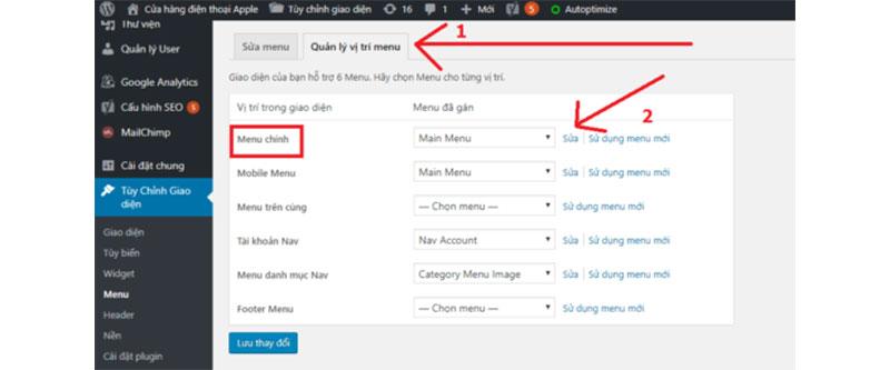truy cập vào quản lý vị trí menu để chỉnh sửa menu