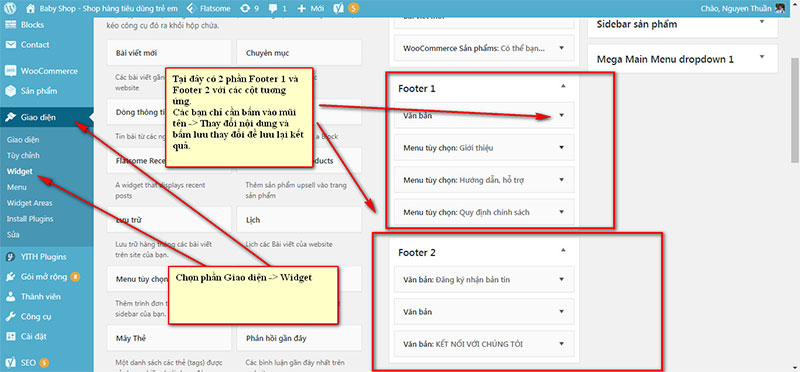 thay đổi thông tin ở Footer trong wordpress