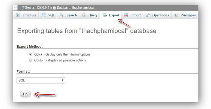 chuyển dữ liệu từ localhost lên host
